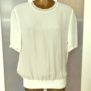 Theory 100% Silk White Top Size Small New